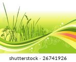 grass, flowers and abstract lines background / vector illustration - stock vector