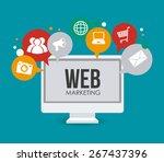 marketing design over blue... | Shutterstock .eps vector #267437396