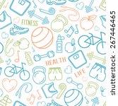 fitness exercise seamless... | Shutterstock .eps vector #267446465