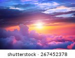 sunset above the clouds | Shutterstock . vector #267452378