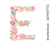 watercolor floral monogram... | Shutterstock . vector #267457772