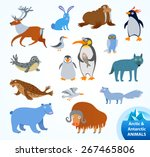 set funny arctic and antarctic... | Shutterstock .eps vector #267465806