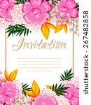 invitation with floral... | Shutterstock .eps vector #267482858