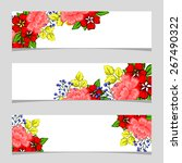 three floral banners | Shutterstock .eps vector #267490322