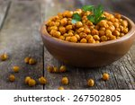 roasted  spicy chickpeas on... | Shutterstock . vector #267502805