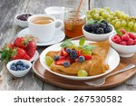 breakfast   crepes with fresh... | Shutterstock . vector #267530582
