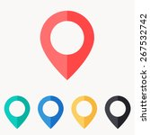 map pin icon   flat design | Shutterstock .eps vector #267532742