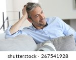 smiling handsome 45 year old... | Shutterstock . vector #267541928