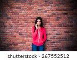 beautiful woman talking on the... | Shutterstock . vector #267552512
