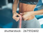 woman losing weight | Shutterstock . vector #267552602