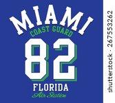 College Miami sport typography, t-shirt graphics, vectors
