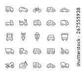 transport icons outline stroke... | Shutterstock .eps vector #267555938