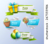 set of birthday banners. vector ... | Shutterstock .eps vector #267555986