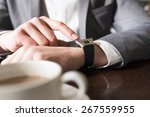 in coffee bar a man using his... | Shutterstock . vector #267559955