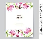 watercolor wedding background... | Shutterstock .eps vector #267566222