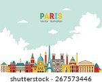 paris detailed skyline. vector... | Shutterstock .eps vector #267573446