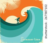 surfer and sea wave.retro... | Shutterstock .eps vector #267587102