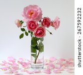 Bouquet Of Pink Roses In A Vase....