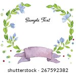vector watercolor simple floral ... | Shutterstock .eps vector #267592382