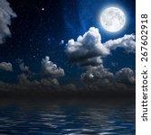 Moon On A Background Star Sky...
