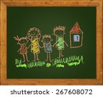 happy family. blackboard. kids... | Shutterstock . vector #267608072