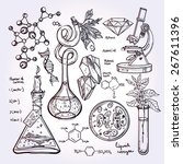 hand drawn science vintage... | Shutterstock .eps vector #267611396