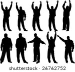happy man silhouettes | Shutterstock .eps vector #26762752