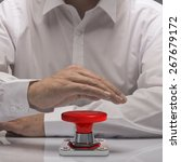 Small photo of hand pushing emergency button, white shirt and reflexion. symbol of urgency and problem solving