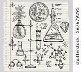 hand drawn cool science... | Shutterstock .eps vector #267679292