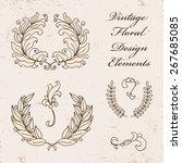 set of vector floral elements... | Shutterstock .eps vector #267685085