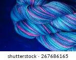 Multicolour Yarn On Blue...