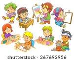 set of child activities routines | Shutterstock .eps vector #267693956