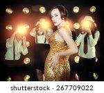 superstar woman wearing golden... | Shutterstock . vector #267709022