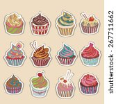 cupcake colorful icon. set of... | Shutterstock .eps vector #267711662