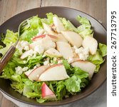 a brown bowl of salad with gala ... | Shutterstock . vector #267713795