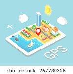 flat map mobile gps navigation  ... | Shutterstock .eps vector #267730358