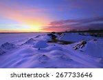 Winter Landscape Sunset On The...