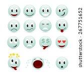 set of green smiles. vector... | Shutterstock .eps vector #267751652