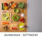 healthy fresh vegetarian food... | Shutterstock . vector #267766232