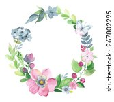 wreath of watercolor floral... | Shutterstock .eps vector #267802295