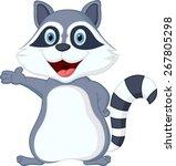happy raccoon cartoon... | Shutterstock .eps vector #267805298