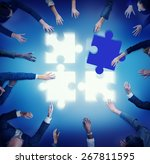 jigsaw puzzle support team... | Shutterstock . vector #267811595
