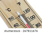 close up wooden thermometer...