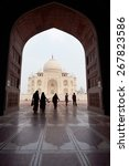 silhouette of tourists with taj ... | Shutterstock . vector #267823586