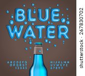 blue water alphabet and numbers ... | Shutterstock .eps vector #267830702