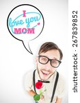 Small photo of Geeky lovesick hipster holding rose against mothers day greeting