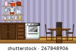 kitchen with shelf and cabinet | Shutterstock .eps vector #267848906