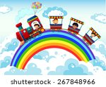 Train Riding On The Rainbow In...