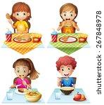 children eating food on the... | Shutterstock .eps vector #267848978