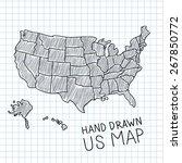 pen hand drawn usa map vector... | Shutterstock .eps vector #267850772